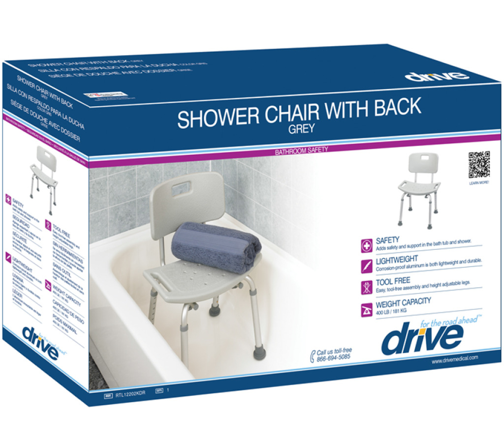 Bath Chair with Back Deluxe Aluminum